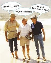 Three old men conversation